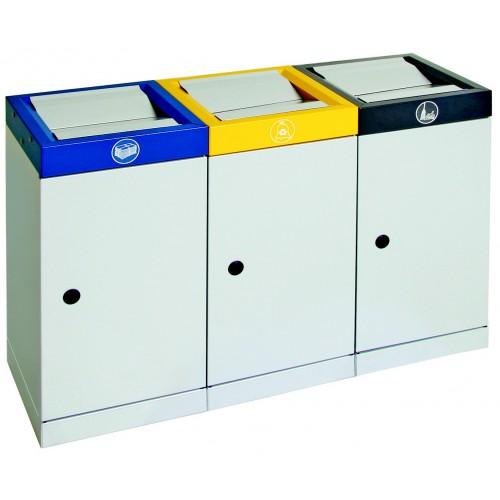Station de tri s lectif de 3 poubelles double clapets auto basculant de capacit 4x70 litres - Poubelle double tri ...