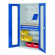 Armoires à tiroirs avec portes vitrées