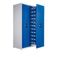 Armoire à 2 compartiments verticaux extractibles H2000xL1100xP600mm équipée de 33 bacs