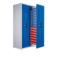 Armoire à 2 compartiments verticaux extractibles H2000xL1100xP600mm équipée de 76 bacs