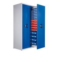 Armoire à 2 compartiments verticaux extractibles H2000xL1100xP600mm équipée de 60 bacs